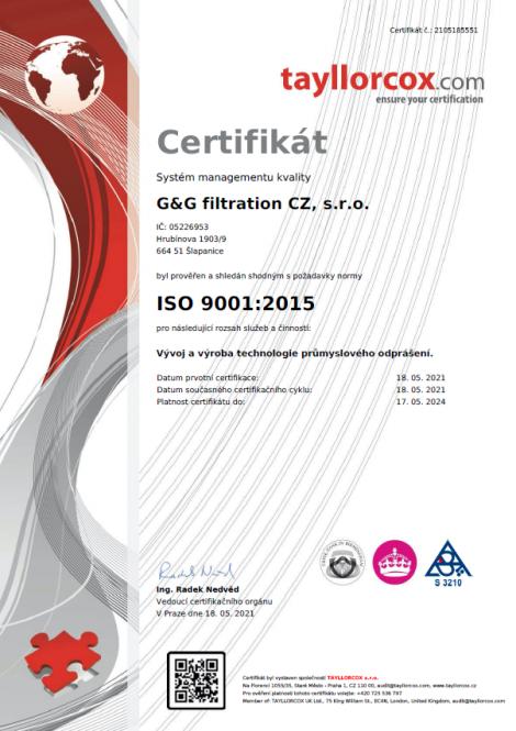 ISO 9001: 2015 Розробка та виробництво технології промислового знепилення.